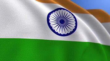 agitant le fond de boucle d'animation du drapeau national de l'inde video