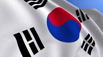 agitant le fond de boucle d'animation du drapeau national de la corée du sud video