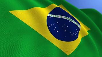 agitant le fond de boucle d'animation du drapeau national du brésil video