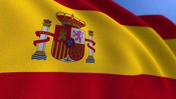 WAVING SPAIN NATIONAL FLAG ANIMATION LOOP BACKGROUND video