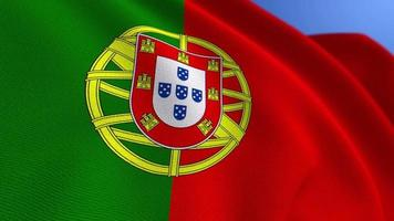 WAVING PORTUGAL NATIONAL FLAG ANIMATION LOOP BACKGROUND video