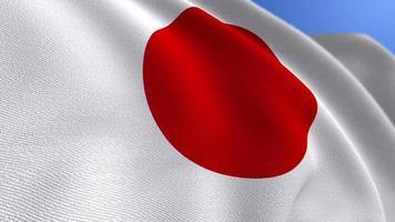 WAVING JAPAN NATIONAL FLAG ANIMATION LOOP BACKGROUND video