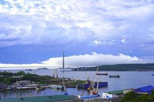 Landscape with a view of the Russian Bridge. Vladivostok photo