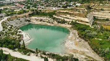 Aerial view of the St. Klimentovsky limestone lake. Inkerman photo