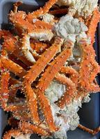 Natural background with boiled claws of Kamchatka crab photo
