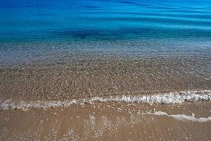 Natural background with water surface and sandy beach photo