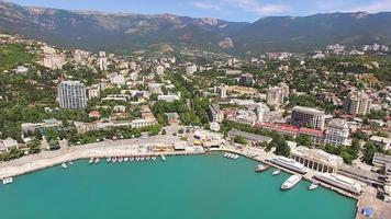 Aerial photography of the seaside resort town by the sea. photo