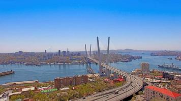 Aerial view of the panorama of the city overlooking the Golden bridge. photo