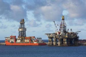 oil drilling platform at day in Canary Islands photo