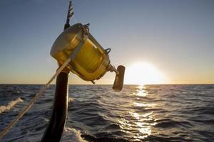fishing rod on sunset background close up photo