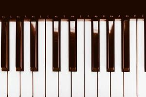Close focus on piano with warm tone of black and white. photo
