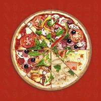 Sabrosa rebanada de pizza con cobertura varian issolated sobre fondo de patrón foto