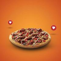 Sabrosa pizza fresca con icono de amor sobre fondo naranja foto
