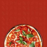 Pizza con topping de tomate issolated sobre fondo de patrón foto