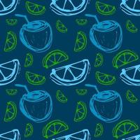 coconut cocktail lime seamless pattern vector