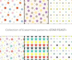 Cute collection of 6 multicolored seamless pattern with festive stars vector