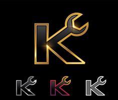 Golden Mechanic Monogram Logo letter K vector