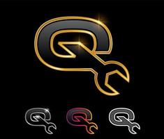 Golden Mechanic Monogram Logo letter Q vector