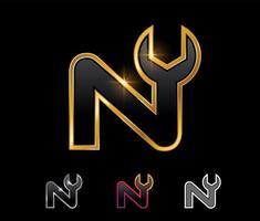 Golden Mechanic Monogram Logo letter N vector