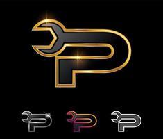 Golden Mechanic Monogram Logo letter P vector