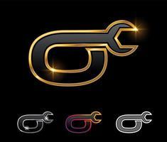 Golden Mechanic Monogram Logo letter O vector