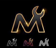 Golden Mechanic Monogram Logo letter M vector