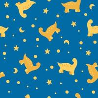 Seamless pattern of yellow dinosaurs in the night sky vector