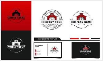 rustic stamp and vintage barn logo with business card template vector