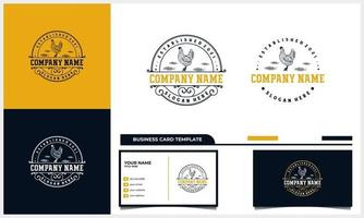 hand drawn Chicken rooster vintage logo with business card template vector