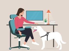 mujer de negocios joven que trabaja desde casa con perro vector