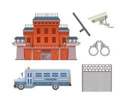 Prison building, prison bus, handcuffs, surveillance camera vector