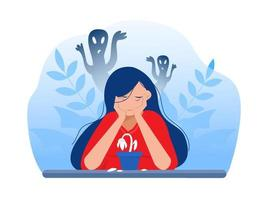 Depressed girl with anxiety vector