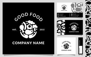 Good Food, monogram logo template with business card and pattern vector