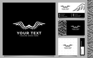 Double Wing, modern logo template with business card and pattern vector