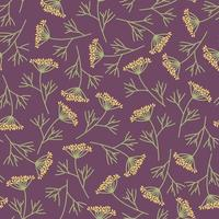 Dill branches seamless pattern on a purple background vector