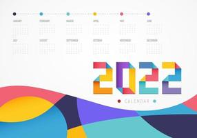 Calendar Colorful planner for 2022. The week starts on sunday. Vector