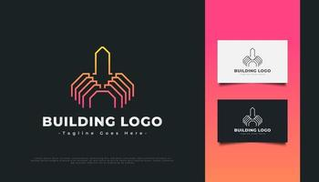 Abstract Building Logo with Line Style for Real Estate Industry vector