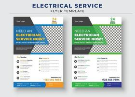 Electrician service flyer template, Need an electrician poster. vector