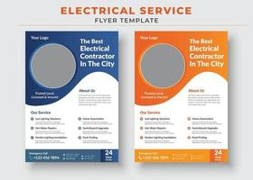 Electrician service flyer and poster template vector
