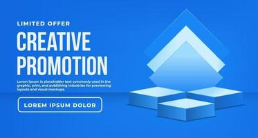 Blue background promotion with podium vector