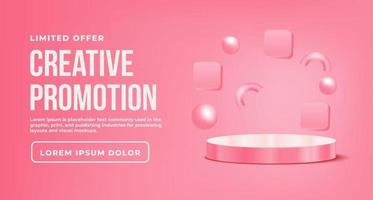 Banner Promotion with pink podium vector