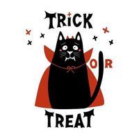lindo gato de dibujos animados con disfraz de vampiro con colmillos, cuernos y capa roja vector