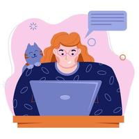 Girl freelancer works at a laptop. Work at home with pets. vector
