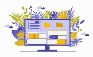Computer monitor with a stack of books. Reading literature vector