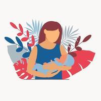 maternidad. mujer con un bebé en brazos. amamantamiento vector