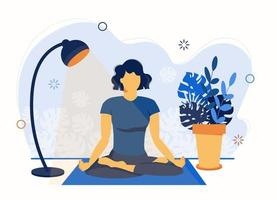 Yoga online. Girl coach conducts a lesson live. vector
