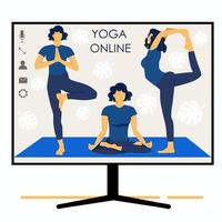 Yoga online. Girl coach holds a lesson online. Monitor screen. Sports vector