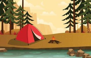 acampando cerca del río en la temporada de otoño vector