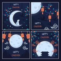Colecciones de tarjetas Happy Chuseok vector