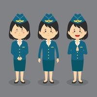 Stewardess Character with Various Expression vector
